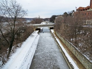 Some folks playing on the ice on the C&O Canal.