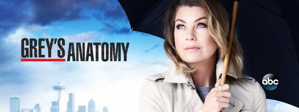 """The Seattle Skyline in the bottom left, with Meredith Grey on the right, and the words """"Grey's Anatomy"""" in block capitals in black centre left."""
