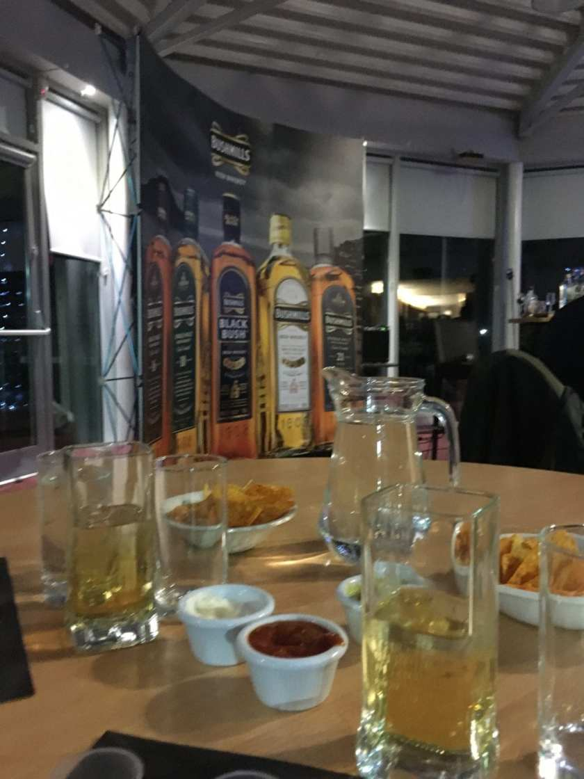 Bushmills Whiskey Tasting Night March 2020 - our table set up