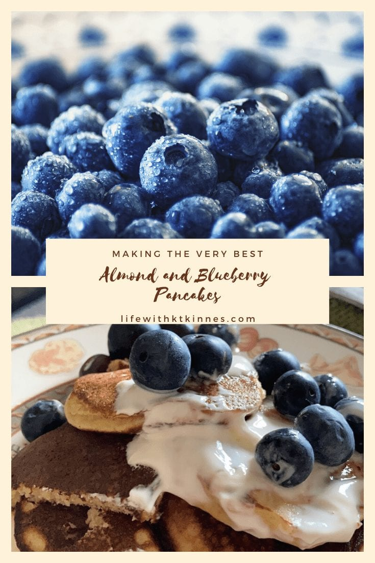A vertically arranged 2-photo collage. The top of blueberries, and the bottom of almond and blueberry pancakes