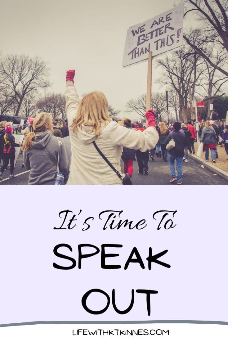 "A woman at a protest holding a placard saying ""its time for change"" while in black writing underneath it says ""It's Time To Speak Out"" - a Pinterest image for What Right? blog post"
