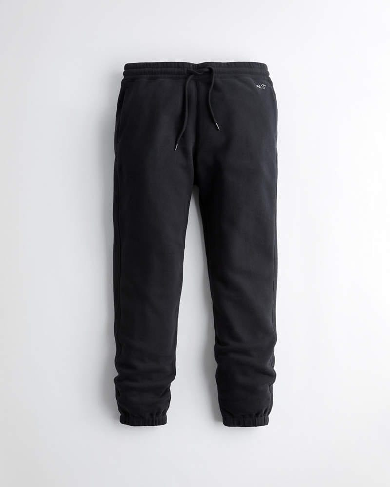 Black must have relaxed fleece jogger pants from Hollister