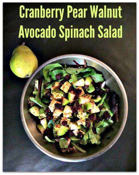 Sweet and Savory Cranberry Pear Walnut Avocado Spinach Salad - Urban Naturale - HMLP 73 - Feature