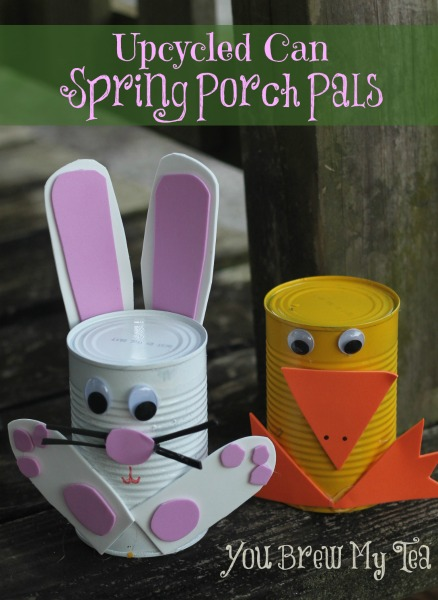 Upcycled Tin Can Spring Porch Pals - You Brew My Tea - HMLP 75 - Feature