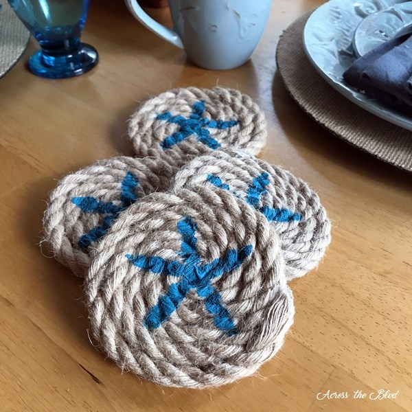 Coastal Starfish Rope Coasters - Across the Blvd. -Home Matters Linky Party Feature 145