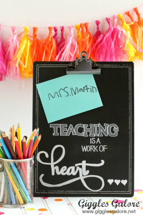 Back To School Teacher's Gift - DIY Chalkboard - Giggles Galore - HMLP 149 Feature
