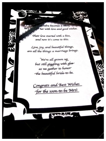 cute bridal shower poem/program