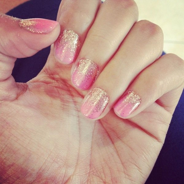 pink and gold glitter manicure nails