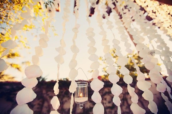 ombre wedding flower petal curtain © Jane Z Photography