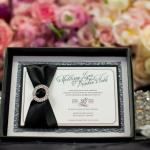 coco chanel inspired rhinestone box invitation