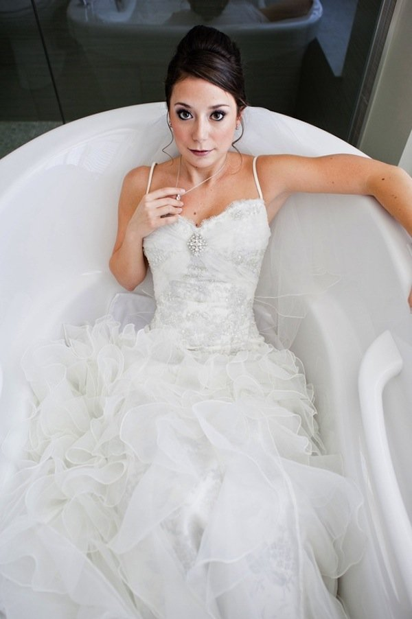 awkward wedding photos bathtub brides