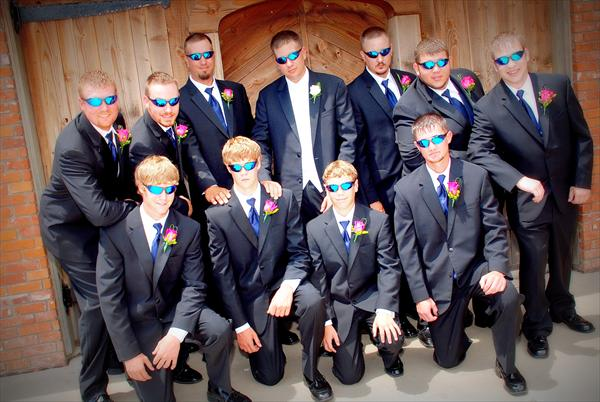 awkward wedding photos groomsmen sunglasses