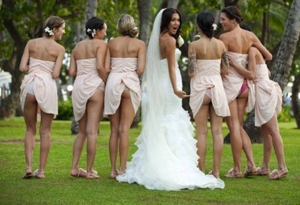 awkward wedding poses bridesmaids flashing butts