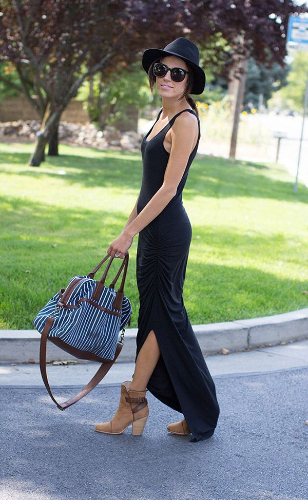 ankle-boots-and-black-maxi-dress-summer-outfit