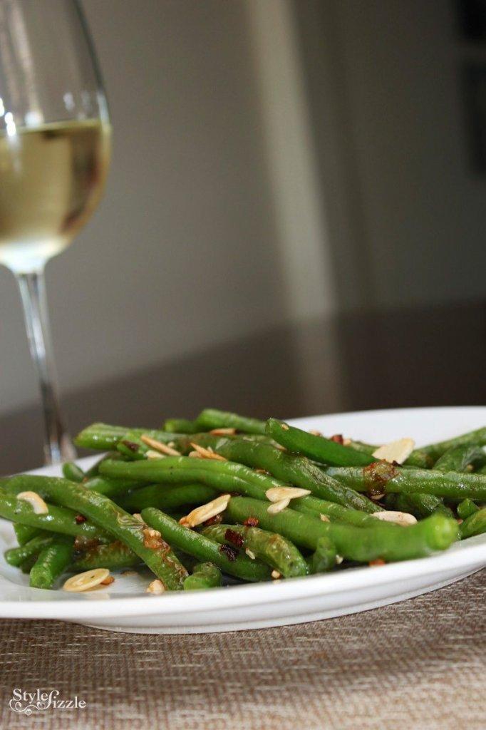 sauteed green beans garlic shallots almonds