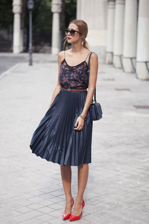 how to wear a midi skirt spring