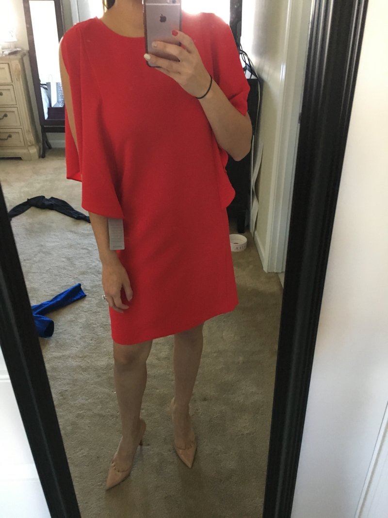 Trunk Club review, red ruffle sleeve dress. Click to see the rest of the outfits in this trunk!