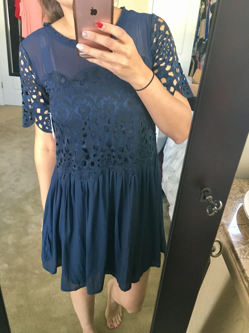 chelsea28 lasercut mini dress. Click to see the rest of this Trunk Club maternity friendly haul!