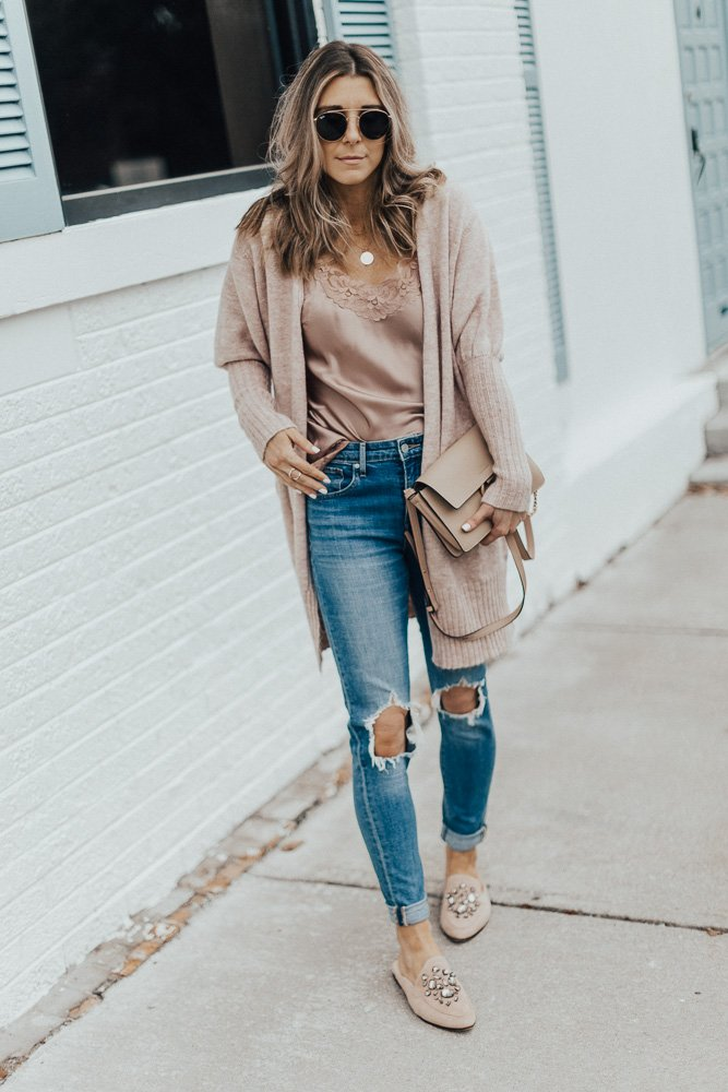 cardigan with lace cami outfit