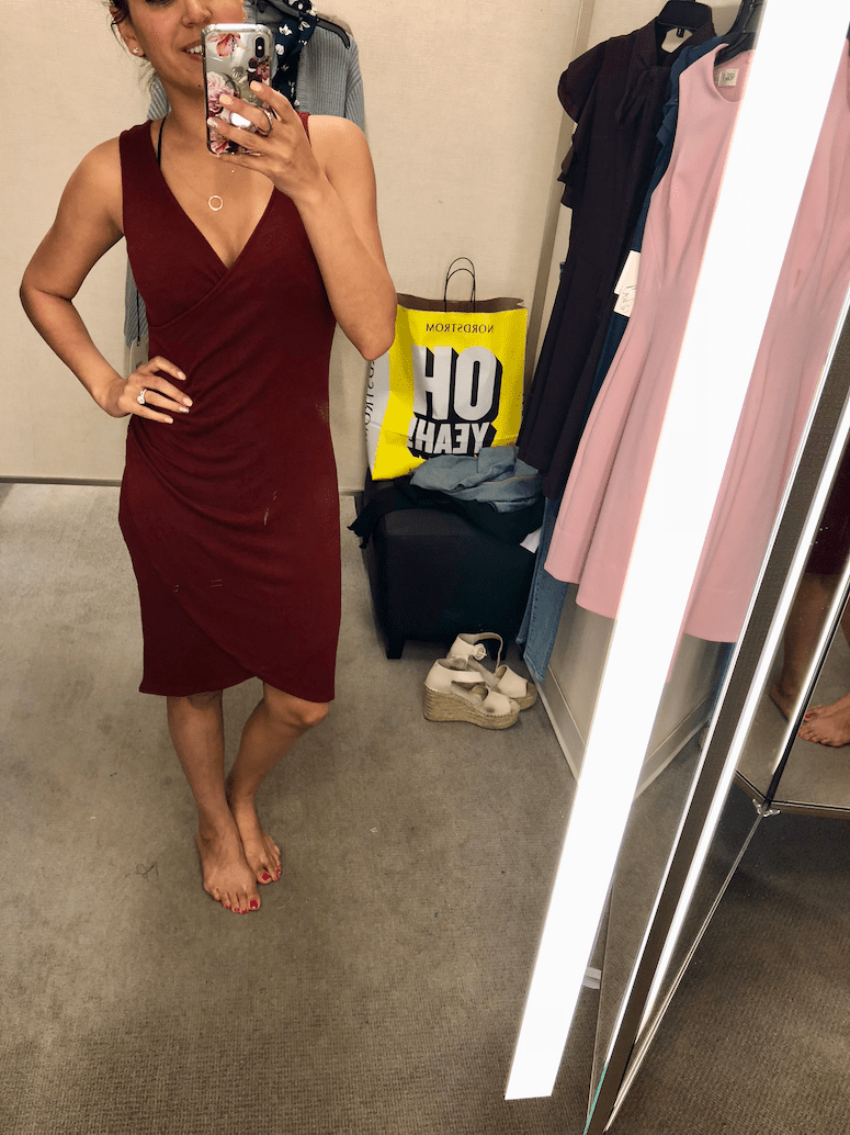 2018 nordstrom anniversary sale dressing room diaries and try on haul Leith wrap dress