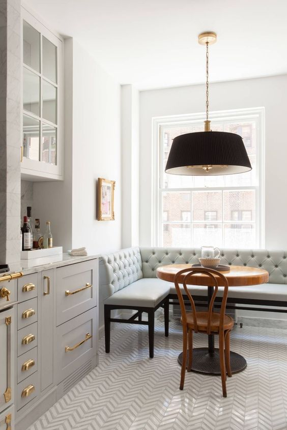 grey and gold kitchen inspiration banquette