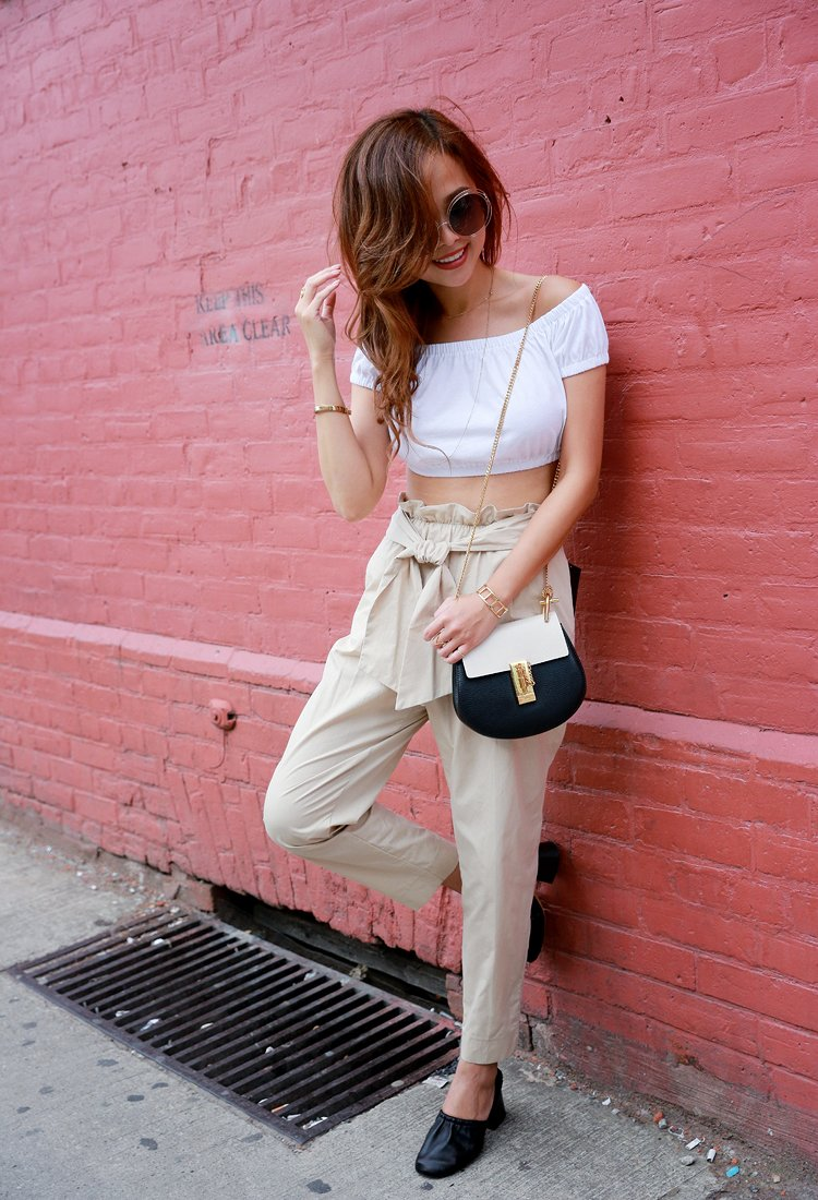 how to wear paper bag pants, paper bag pant outfit ideas for spring and summer!