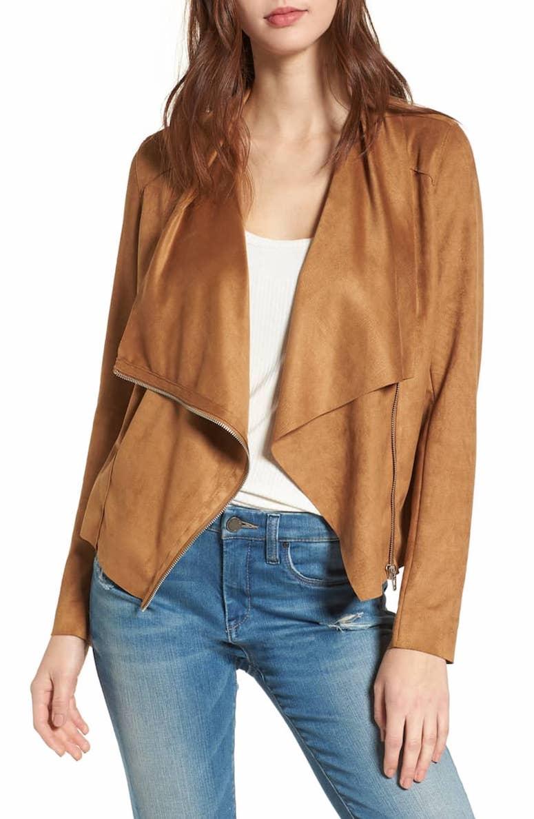 blank nice faux suede jacket