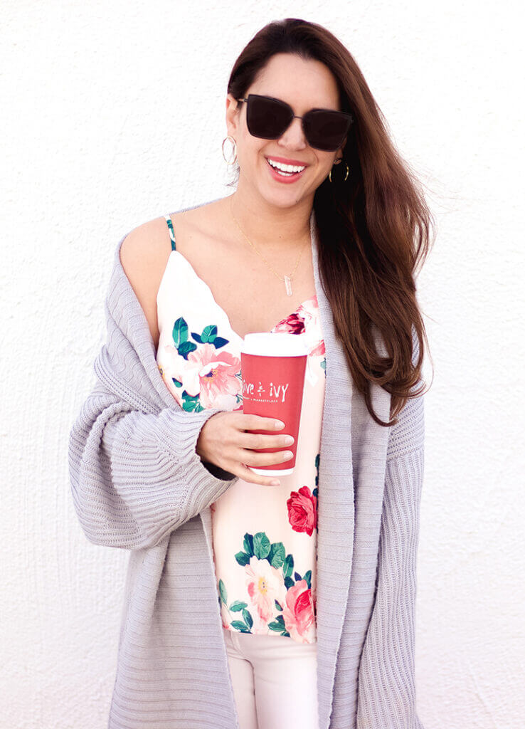 floral print cami socialite scallop cami with chunky sweater