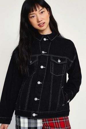 black cropped raw hem jacket