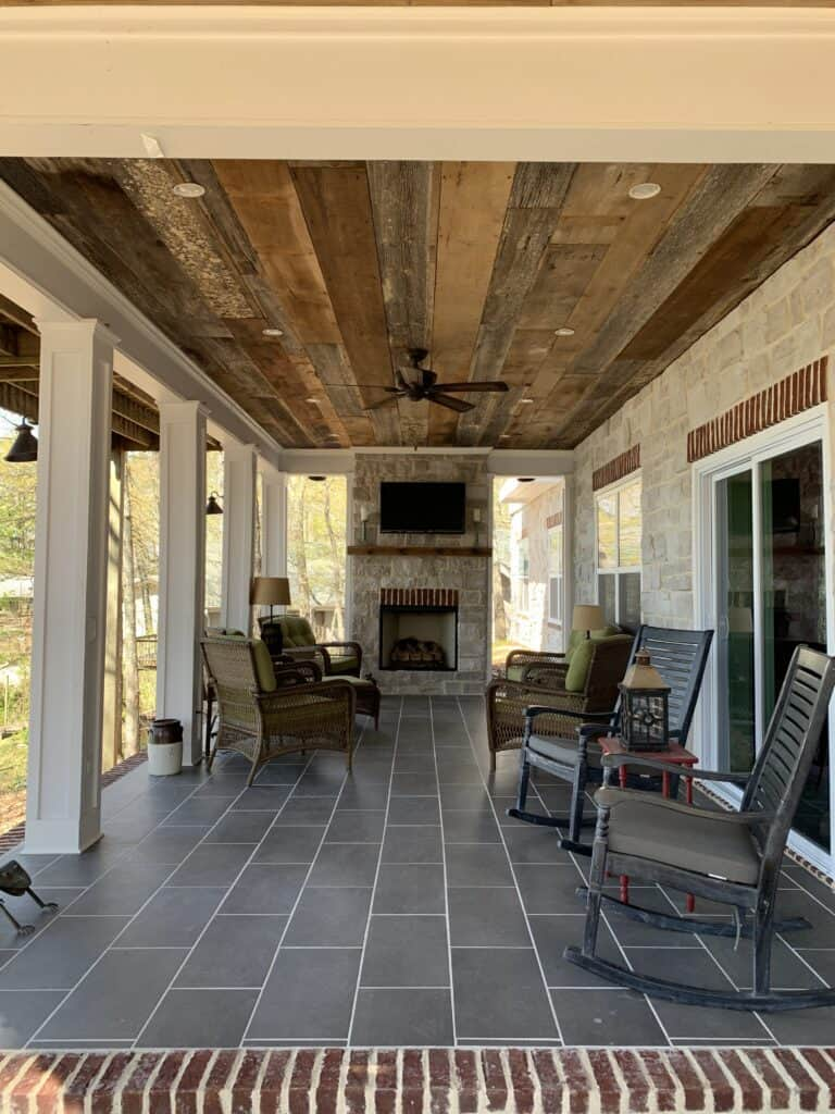 installed barn wood on our porch ceiling