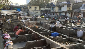Mumbai's open-air laundry is called the Dhobi Ghat. Laundry is collected throughout Mumbai by bicycle and cart and delivered to the Dhobi Ghat each day.