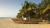 Marari Beach on the Arabian Sea, 11 km from Alleppey in Kerala, is lined with fishing boats. Fishermen head out to sea every night.