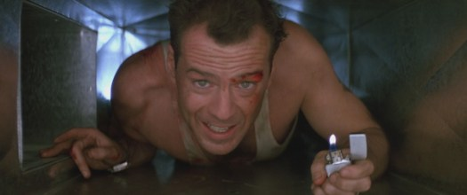John McClane crawls through the mechanical spaces of Nakatomi Plaza in Die Hard.