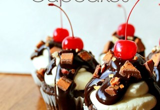 Butterfinger Cup Sundae Cupcakes