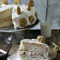 Chocolate Chip Cookie Dough Stuffed Cake