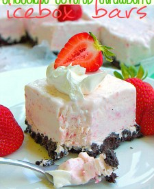 Chocolate Covered Strawberry Icebox Bars