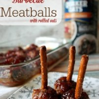 Cranberry Barbecue Meatballs with Rolled Oats