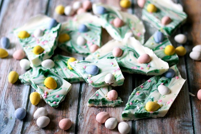 Easter Egg Bark is so easy to make and fun for the kids! Just melt chocolate and add your favorite Easter candies! So pretty!