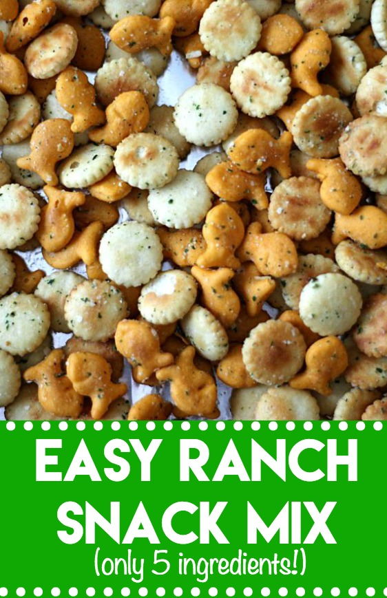 Easy Ranch Snack Mix; bite-sized crackers and cheesy goldfish all tossed in a ranch coating and toasted, it is snacking perfection made in minutes!