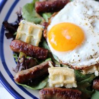 Sweet Sausage Salad with Waffle Croutons