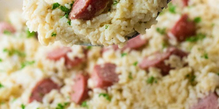White Cheddar Rice and Sausage