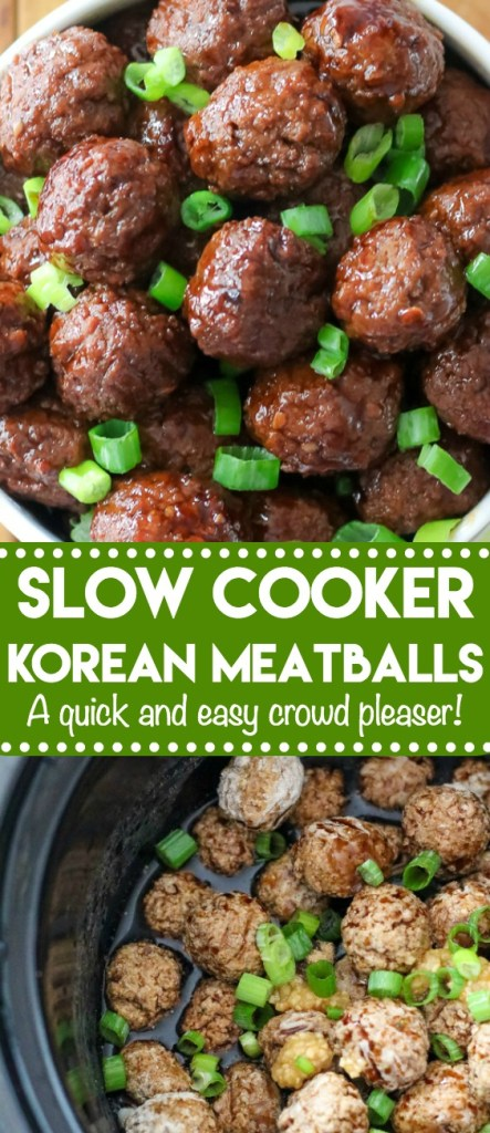 Slow Cooker Korean Meatballs are the perfect dinner or appetizer. So easy to make with just a few ingredients! Sure to be a family favorite!