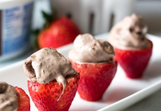 Double Brownie Stuffed Strawberries are the easy 2 ingredient snack or dessert you can whip up in minutes!! Double Brownie Cool-Whip makes these delicious!