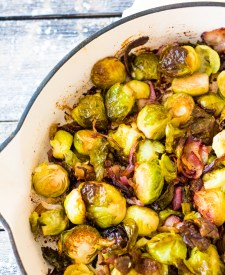 Bacon Ranch Brussels Sprouts are roasted with crispy bacon, sweet red onion and all that ranch flavor everyone loves! A real crowd-pleaser!
