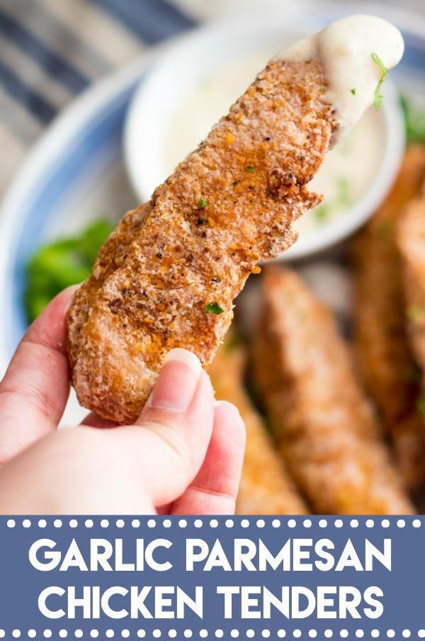 Garlic Parmesan Crispy Chicken Tenders have a secret ingredient to make them the crispiest chicken tenders, with a creamy garlic parm sauce for dipping!
