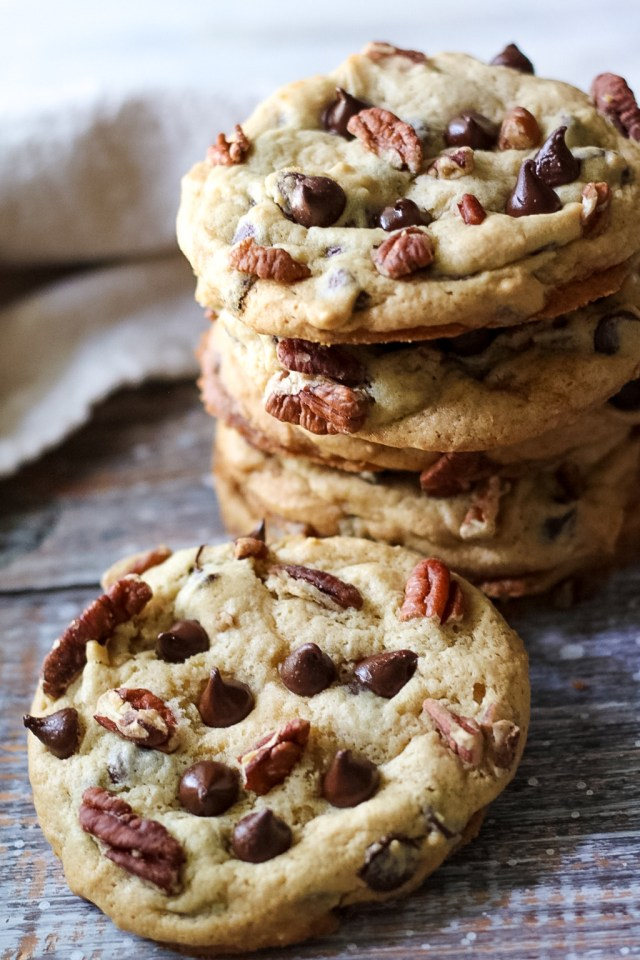 Giant Chewy Chocolate Chip Pecan Cookies are a favorite in our house! Perfectly chewy, giant cookies studded with chocolate and pecans!