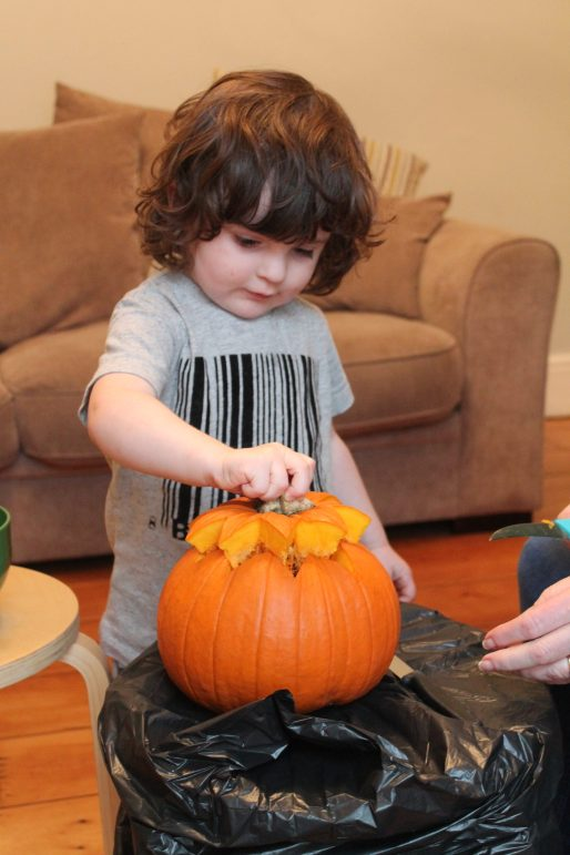 Pumpkin Carving with Tiny Humans