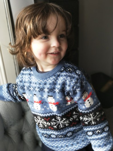 Luke in Snowman Jumper