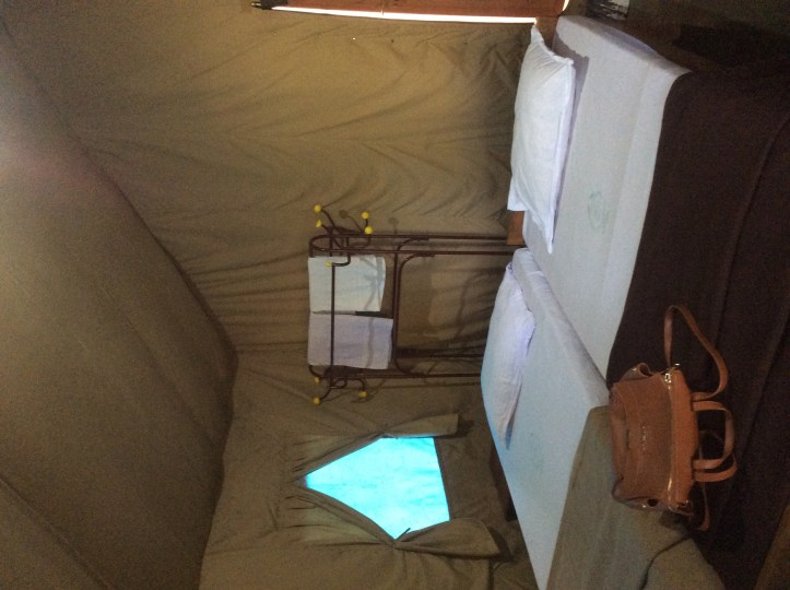 The Cottage is actually a canvas tent, very neat inside in every respect.