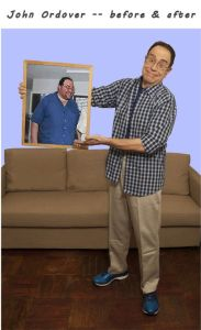 John Ordover holding a photo of himself before he lost weight